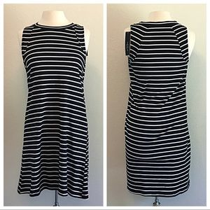 august silk Dresses - August Silk Striped Black and White Dress